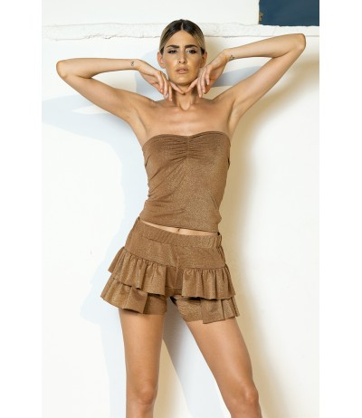 Shorts in lurex con rouges color bronzo Yes Your Everyday Superhero.