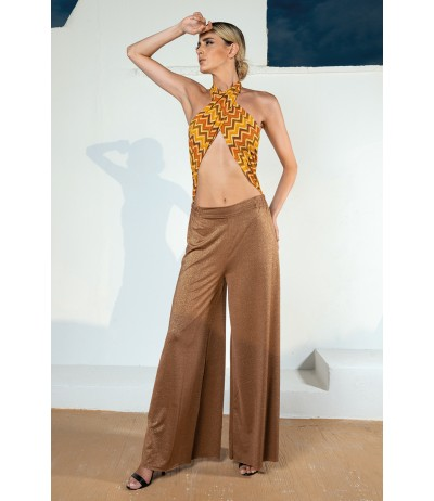 Pantalone a palazzo in lurex color bronzo Yes Your Everyday Superhero.