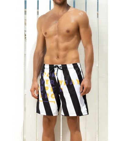Il boxer mare in morbido nylon con fantasia a strisce black & white di Yes Your Everyday Superhero.