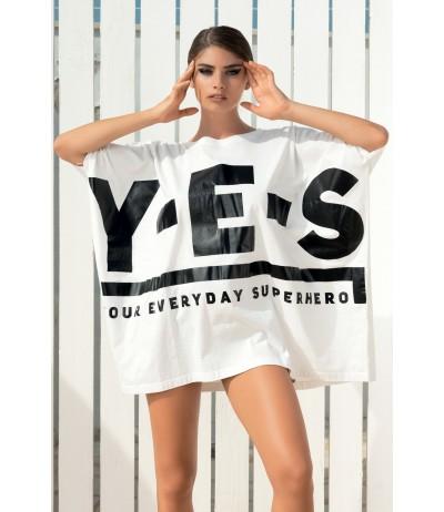 Il mini abito oversize in cotone con logo Yes Your Everyday Superhero.