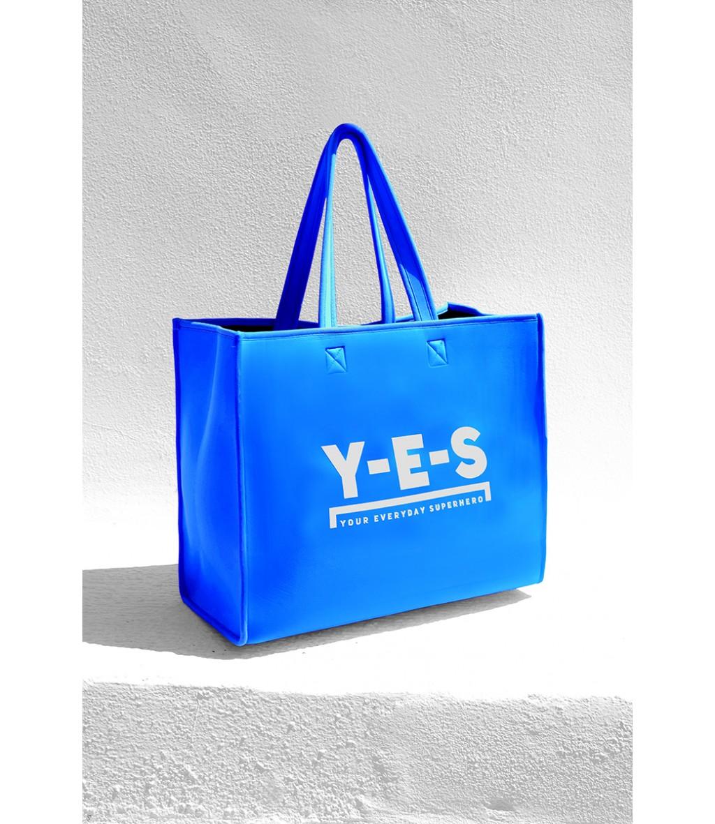 Borsa shopper in neoprene YES azzurro royal con logo frontale bianco