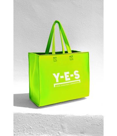 Borsa shopper in neoprene YES verde fluo con logo frontale bianco