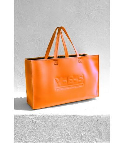 Borsa da mare in neoprene YES arancio con logo tono su tono in rilievo